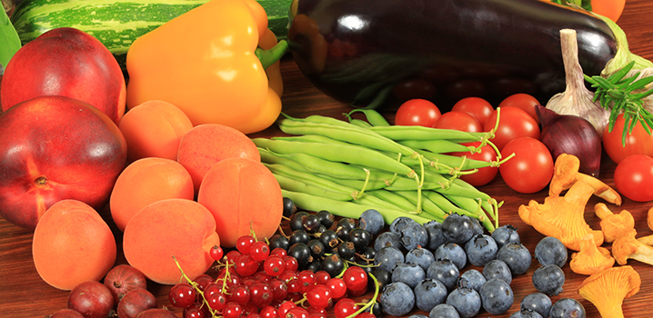 table filled with fruits and vegetables